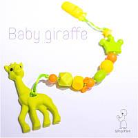 Силиконовый грызунок с держателем BABY MILK TEETH Baby Giraffe