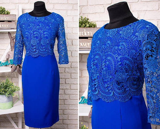 """Стильное  женское платье с цветочной вышивкой из органзы ткань """"Костюмная"""" 52 размер батал, фото 2"""