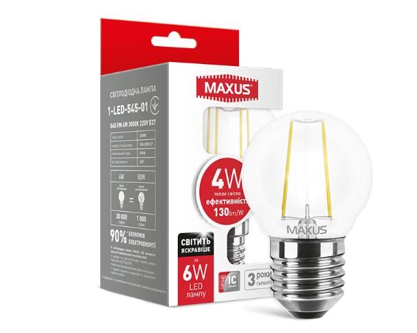 LED лампа MAXUS (filam), G45, 4W, теплый свет,E27 (1-LED-545-01)