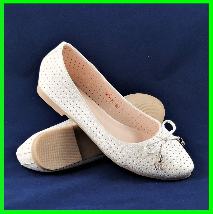 .Женские Балетки Белые Перламутр Мокасины Туфли (размеры: 37)