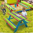 Набор детская деревянная песочница + столик с лавочками + качеля Just Fun (детская игровая площадка), фото 6