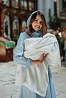 В'язаний бавовняний плед для новородженого на виписку з пологового будинку і хрестини