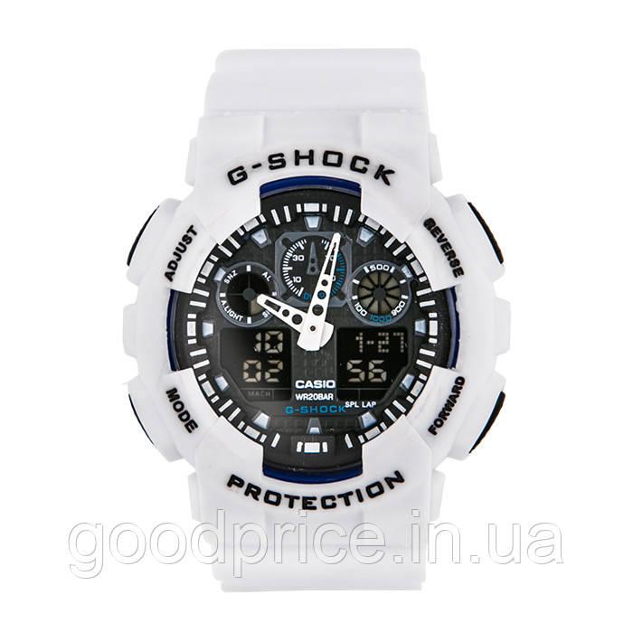 Неубиваемые спортивные наручные часы Casio G-shock GA-100 разных цветов Черный Белый Белый