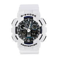 Неубиваемые спортивные наручные часы Casio G-shock GA-100 разных цветов Черный Белый Белый, фото 1