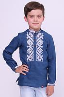 Вышиванка для мальчика 6001 синий лен