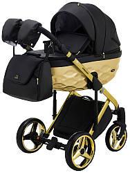 Детская коляска универсальная 2 в 1 Adamex Chantal Star Polar (Gold) кожа 100% 102 (Адамекс Шанталь, Польша)