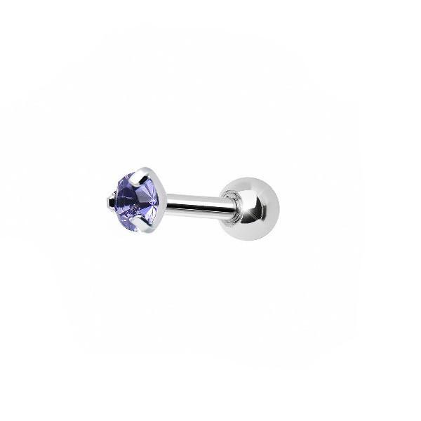 Сережка пирсинг уха с кристаллом танзанит 176040