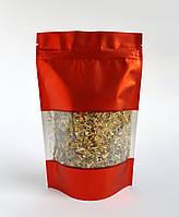 Пакет дой-пак 130х200 с окном (красный матовый) / 100шт