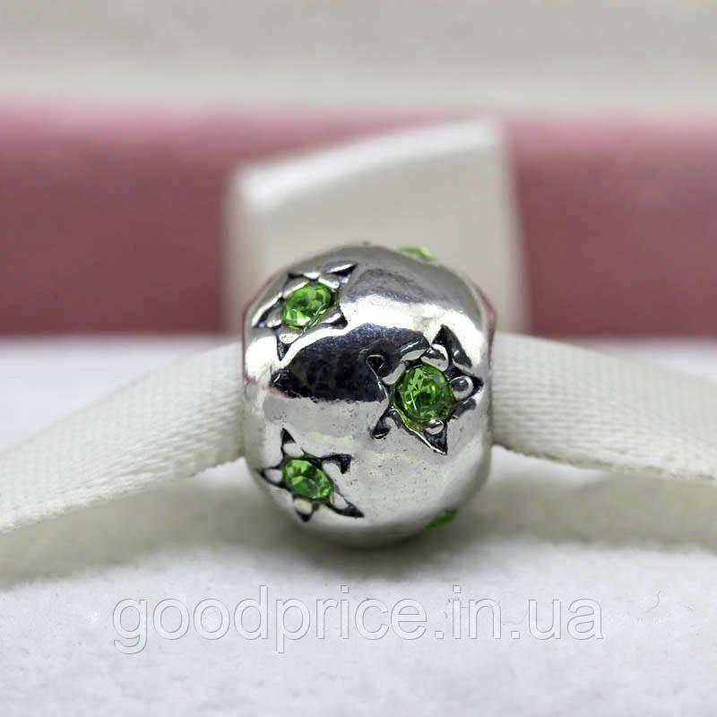 """Шарм бусина Pandora (Пандора) """"Зеленые звездочки"""""""