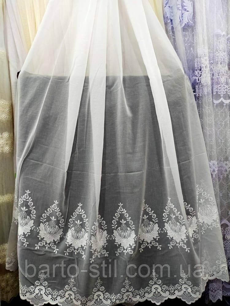 Тюль белого цвета на метраж и опт основа батист с вышивкой Высота 2.8 м