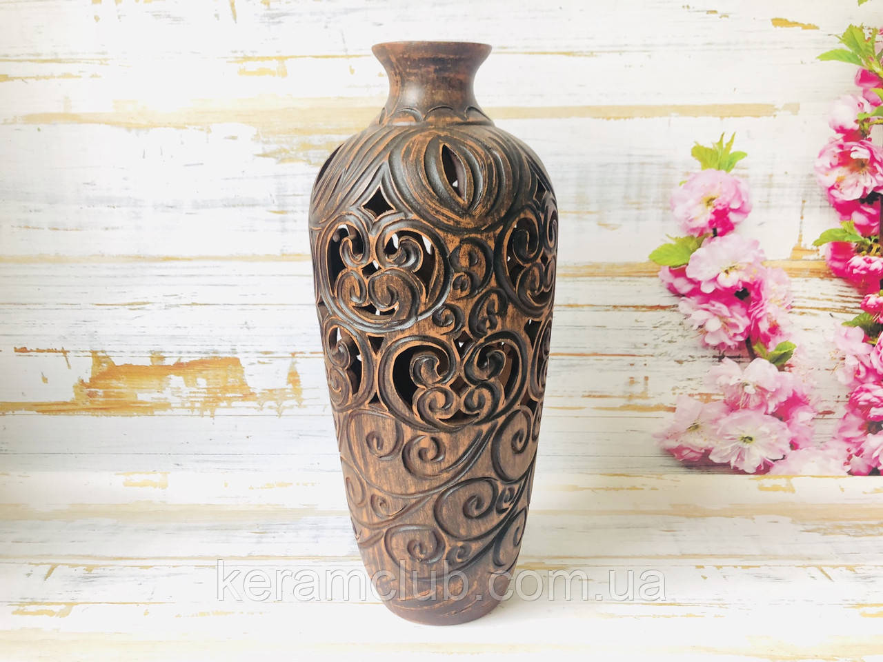 Глиняная ваза ручной работы h 33 см