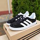 Женские кроссовки в стиле Adidas Gazelle черные с белым, фото 2