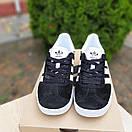 Женские кроссовки в стиле Adidas Gazelle черные с белым, фото 4