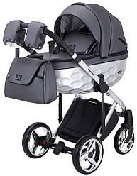 Детская коляска универсальная 2 в 1 Adamex Chantal Star Polar (Chrome) кожа 100% 103 (Адамекс Шанталь, Польша)