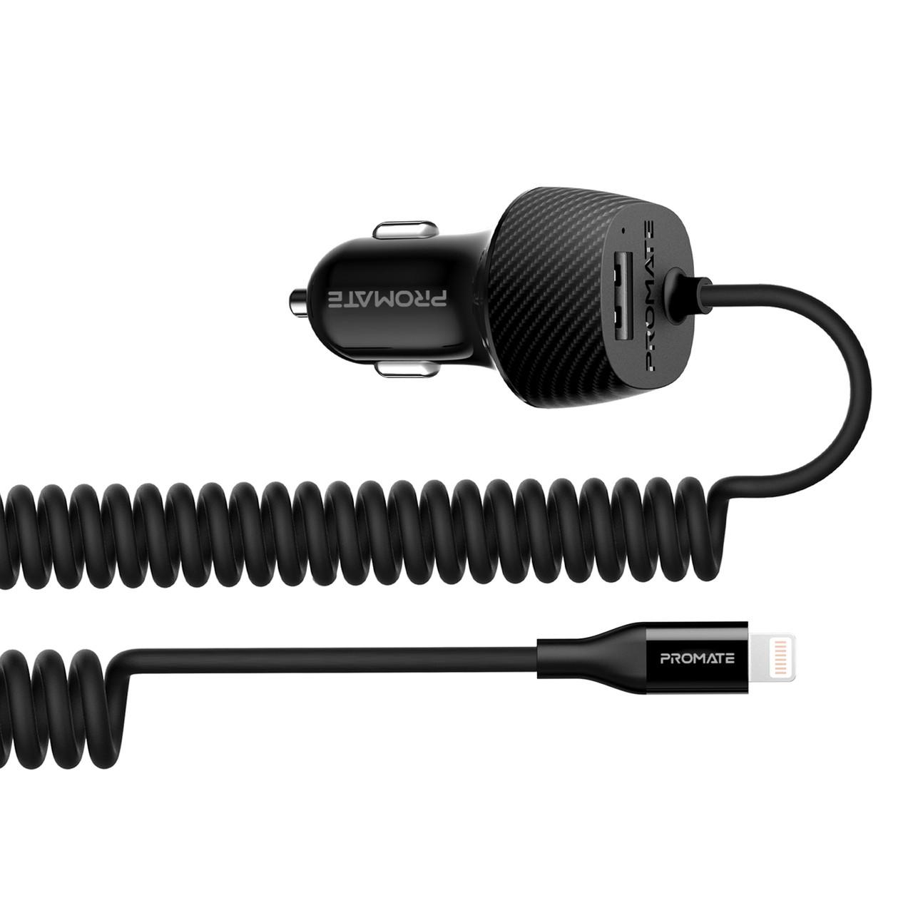 Автомобильное зарядное устройство Promate Voltrip-I 17Вт USB + Lightning Connector Black