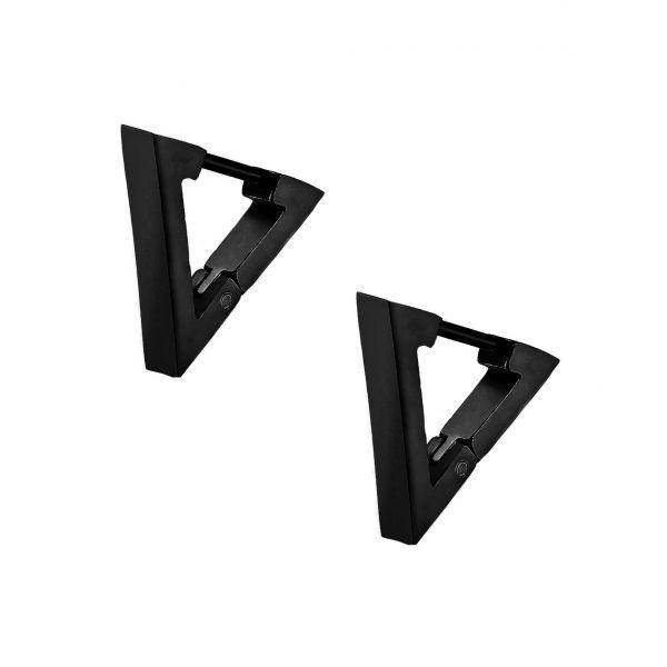 Стильні сталеві молодіжні сережки чорні трикутники 176043