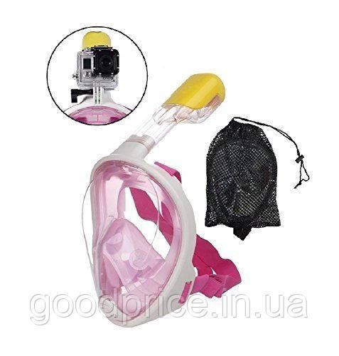 Дайвинг маска Tribord Easybreath Pink для подводного плавания (сноркелинга) c креплением для камеры GoPro