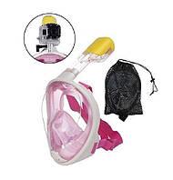 Дайвинг маска Tribord Easybreath Pink для подводного плавания (сноркелинга) c креплением для камеры GoPro, фото 1