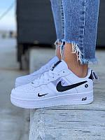 Nike Air Force White кроссовки женские демисезонные Найк Аир Форсе кожаные белые с черным лого