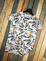 Мужская футболка летняя белая с рисунком Перьев Турция. Живое фото. Топ качество