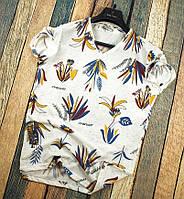 Мужская футболка летняя белая с рисунком цветка Турция. Живое фото. Топ качество