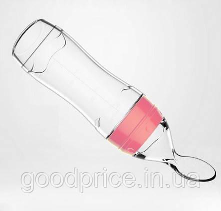 Бутылочка для кормления SUNROZ силиконовая с ложечкой и колпаком 120 мл Розовый