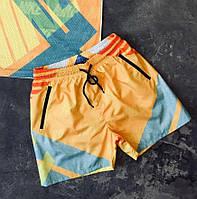 Шорты мужские летние пляжные плавательные Nike желтые. Живое фото