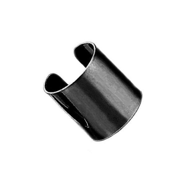 Серьга каффа стальная классическая в черном цвете 176045