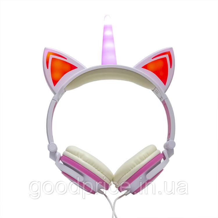 Навушники LINX Unicorn Ear Headphone з вушками Єдиноріг LED Рожевий (2996)