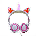 Навушники LINX Unicorn Ear Headphone з вушками Єдиноріг LED Рожевий (2996), фото 3