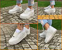 Кроссовки женские белые низкие натуральная кожа Nike Air Force Найк Аир Форс