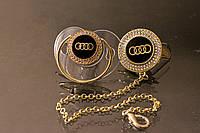 Пустышка, соска со стразами Audi и держатель, комплект, фото 1