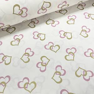 Ткань поплин сердца розовые и золотые (глиттер) на белом (ТУРЦИЯ шир. 2,4 м)