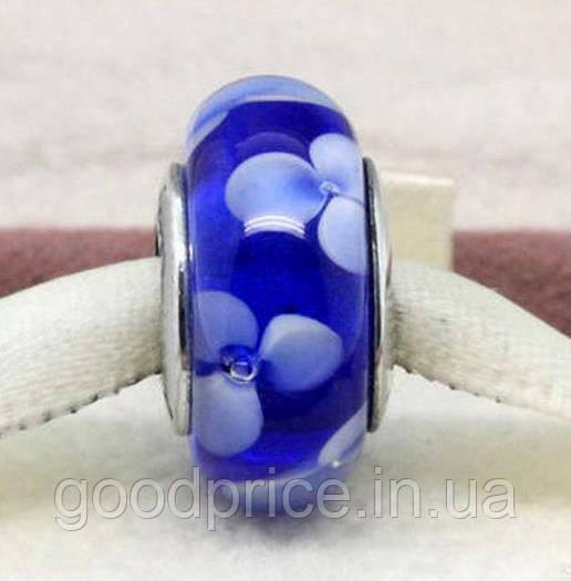 """Шарм бусина Pandora (Пандора) """"Муранское стекло Синие цветочки"""""""