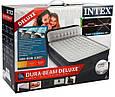 Надувне ліжко двоспальне з підголовником Intex 64448 і вбудованим електронасосом (152*236*86 см), сіра, фото 8