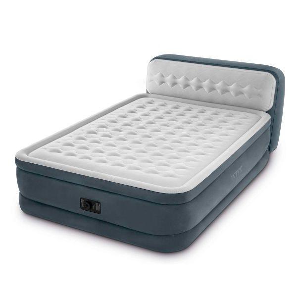 Двуспальная надувная кровать с подголовником Intex 64448 и встроенным электронасосом (152*236*86 см), серая