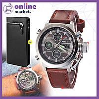 Мужские наручные часы AMST / Армейские тактические часы + Мужской кошелек