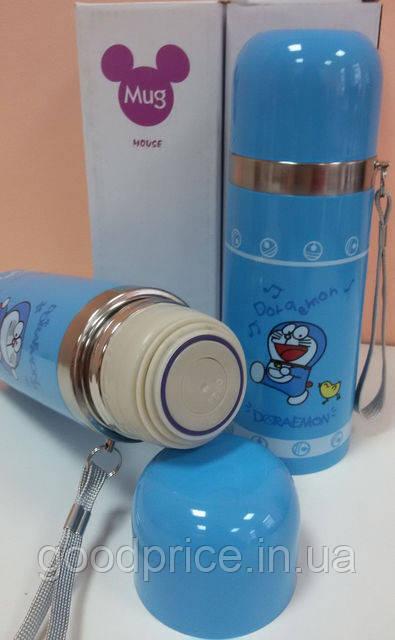 Детский термос Doraemon (Дорамун) со шнурком 350 мл