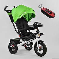 Детский трёхколёсный велосипед с пультом Best Trike 6088F-1990 с родительской ручкой, черно-зеленый