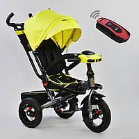Детский трёхколёсный велосипед с пультом Best Trike 6088F-1340 с родительской ручкой, желтый