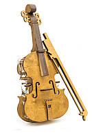 """Подарочный деревянный сувенирный набор """"Мини-бар Скрипка и стопки"""" ручной работы"""