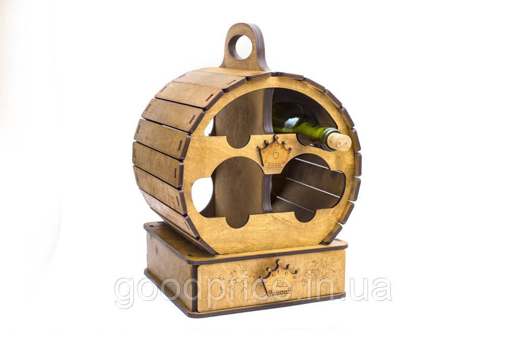 """Подарочный деревянный сувенирный набор """"Мини-бар Бочка и стопки"""" ручной работы"""