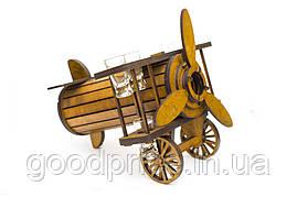 """Подарочный деревянный сувенирный набор """"Мини-бар Самолет и стопки"""" ручной работы"""