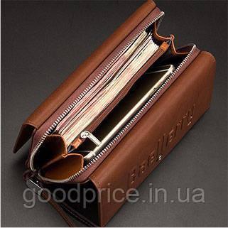 Мужской клатч портмоне  Baellerry Guero на кнопке (коричневый)