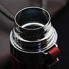 Термос с чашкой глянцевый для горячих и холодных напитков с шнурком  650 мл оранжевый, фото 3