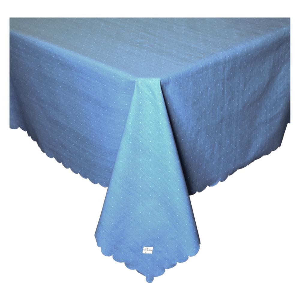 Скатерть водоотталкивающая Горошек на синем ТМ Прованс
