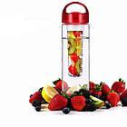 Бутылка для воды и напитков SUNROZ Fruit Bottle с контейнером для фруктов 800 мл Красная, фото 2