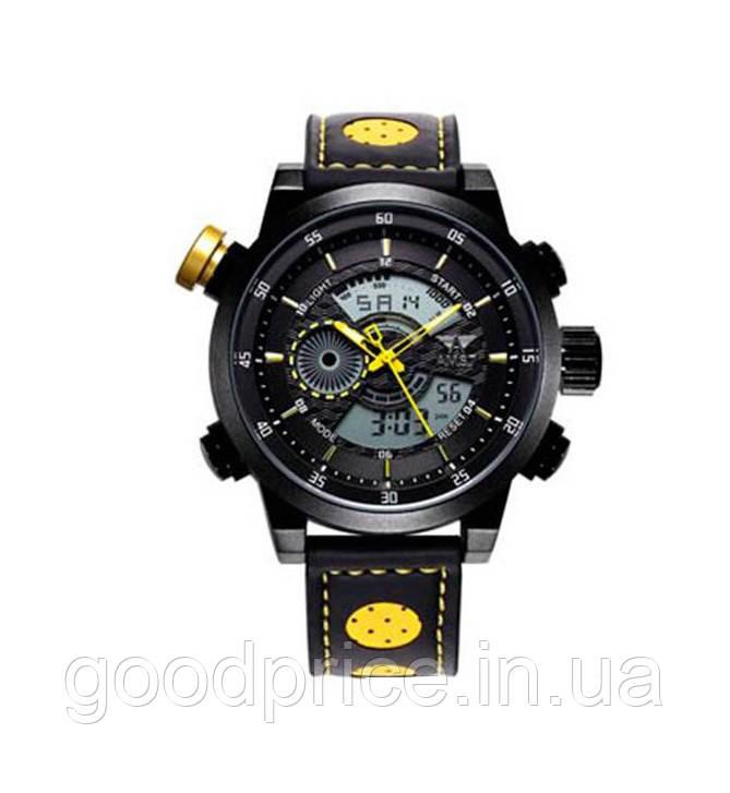 Наручные часы AMST AM3013 Мужские наручные водонепроницаемые часы, Черно-Желтые