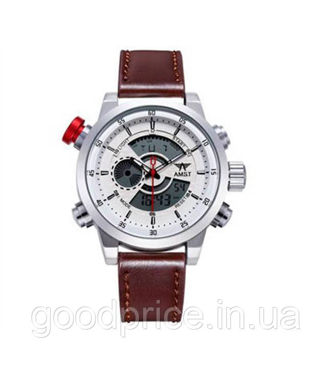 Наручные часы AMST AM3013 Мужские наручные водонепроницаемые часы, Серо-Бело-Коричневые