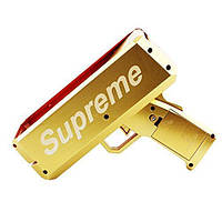 Пістолет для стрільби грошима SUPREME MONEY GUN Chrome Gold грошовий пістолет Золотистий (4476)